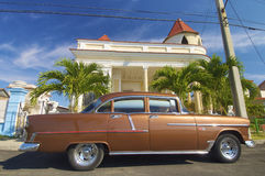 Classic car. Parked in a typical street in Cuba Royalty Free Stock Photography