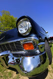 Classic Car. Wide angle shot of a black classic car stock photo