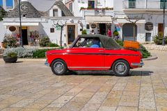 Classic car in Alberobello royalty free stock photos