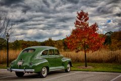Classic Car - Green Plymouth. High gloss green 1940s Plymouth parked before brilliant autumn setting Stock Photo