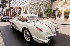 Classic car in The Avenues Mall, Kuwait. Old Chevrolet Corvette at The Avenues Mall in Kuwait. December 10, 2014 in Kuwait City, Middle East Stock Photo