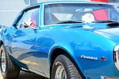 Classic Car Blue Firebird Pontiac. Blue Pontiac Firebird Classic Car at a car show Royalty Free Stock Photography