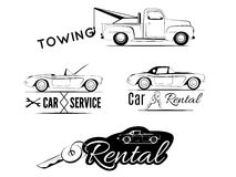 Classic car business icons Stock Photos