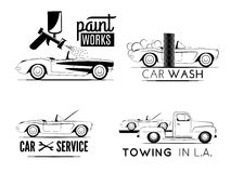Classic car business icons Stock Image