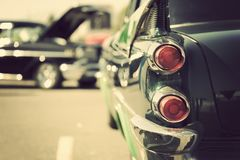 Classic car tail lights close-up. Classic car with chrome parts tail lights close-up royalty free stock image