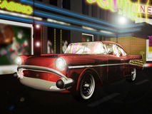 Classic car in the city. A classic chevrolet car, under the city lights Royalty Free Stock Images