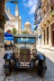 Classic car in a cobblestone street in Old Havana Stock Photos