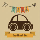 Classic car. Concept to buy classic car on light brown background Royalty Free Stock Images