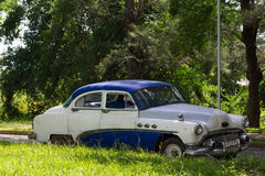 Classic car in the countryside from cuba Stock Images