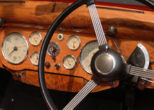 Classic Car Dials. A close up on dials in a classic car stock photo