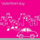CLASSIC CAR driver holding a balloon heart City of Love Valentin. E's day Stock Photography