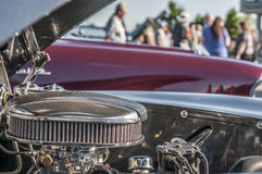 Classic car engine. Classic cars on display during car show Stock Photo