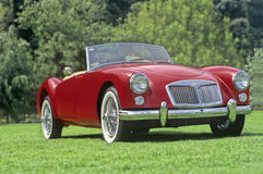 Classic car exhibition. Red MG in a classic car exhibition stock photos