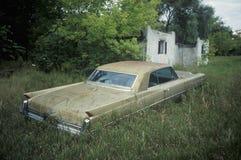A classic car in a field in Wisconsin Stock Photo