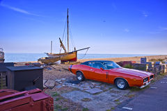 Classic car with fishing boat Royalty Free Stock Image