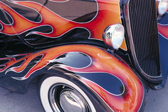 Classic Car Flames Stock Photography