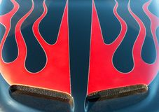 Classic car, flames on the hood Stock Image