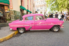 Classic car in front of El Floridita in Havana Stock Image