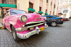 Classic car in front of El Floridita in Havana Royalty Free Stock Photo