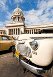 Classic car in Havana. Classic car parked in front of the Capitol  in Havana.Cubans keep thousands of old cars running even when parts have not been produced for Stock Photography