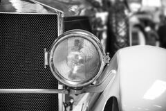 Classic Car Headlight Grayscale Photo stock photo