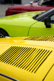 Classic  car hood  yellow green  red Stock Image