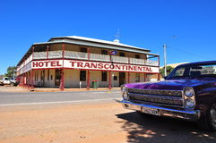 Classic car and hotel in South Australia Stock Photo