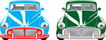 Classic car. Illustration of two europe vintage cars blue and green with the right steering wheel royalty free illustration