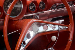 Classic Car Interior. Steering wheel and dask of a classic car Royalty Free Stock Image