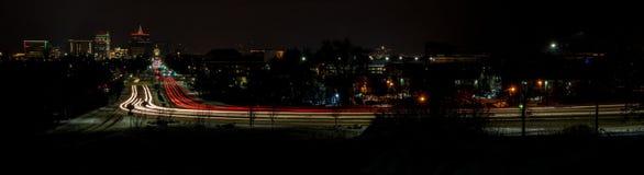 Classic car lights streak through Boise Royalty Free Stock Photos
