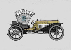 Classic car, machine or engine illustration. engraved hand drawn in old sketch style, vintage transport. Royalty Free Stock Images