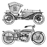 Classic car, machine or engine and motorcycle or motorbike illustration. engraved hand drawn in old sketch style. Vintage transport royalty free illustration