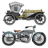 Classic car, machine or engine and motorcycle or motorbike illustration. engraved hand drawn in old sketch style. Vintage transport Royalty Free Stock Images