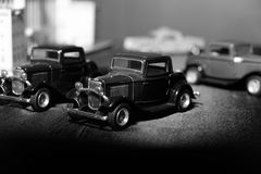 Classic car model. Black and white blackground Stock Photo