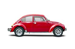 Classic car. Old red VW Beetle isolated on white Stock Photography