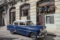 Classic car in old town of Havana, Cuba Stock Photos