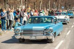 Classic car parade celebrates spring in Sweden Stock Image