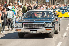 Classic car parade celebrates spring in Sweden Royalty Free Stock Image