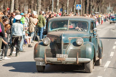 Classic car parade celebrates spring in Sweden Royalty Free Stock Photography