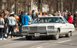 Classic car parade on May Day celebrates spring in Sweden Stock Images
