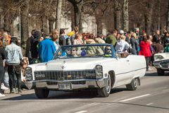 Classic car parade on May Day celebrates spring in Sweden Royalty Free Stock Photos