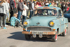 Classic car parade on May Day celebrates spring in Sweden Royalty Free Stock Photography