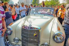 Classic car with the Parade of miss thailand world in Thailand tourism festival.bangkok royalty free stock photos