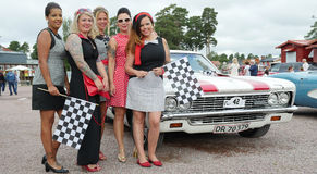 Classic car parade Royalty Free Stock Photos