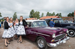 Classic car parade Royalty Free Stock Images