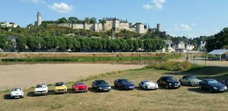 Classic car rally in Chinon France Stock Images