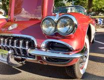 Classic Car Red Corvette. Rutherford, New Jersey, USA: One of the many impressive vintage vehicles on display during the Summer Kick-Off, the 2nd Annual Royalty Free Stock Image