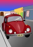 Classic car in red. Illustration of Classic car in red royalty free illustration