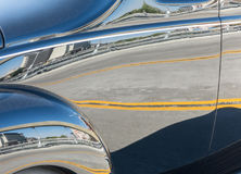 Classic car reflections. Reflections following the curves on a classic car Stock Photo