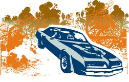 Classic car retro illustration Stock Photo